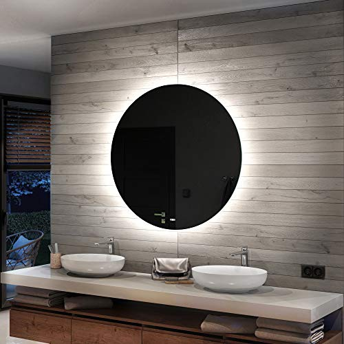 Artforma 60 cm Specchio Tondo da Parete Bagno con Illuminazione LED - su Misura - con Interruttore e Accessori | Personalizza Specchio a Muro L82