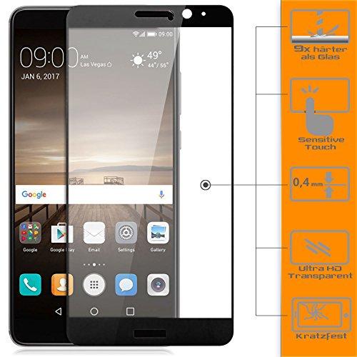 zanasta Protector de pantalla compatible con Huawei Mate 9 Protector de pantalla de cristal templado [cobertura completa] Cristal templado negro