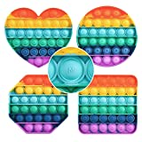 """ASONA Toddler Alphabet Learning & Fidget Sensory Toys with """"Pop"""" Sound for Car Plane Travel, Push Bubble Preschool Letters Spelling Toy Set for Girls Boys (Rainbow Heart Circle Square Octagon 4-Pack)"""