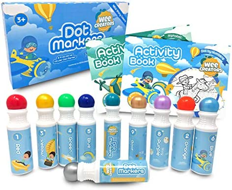 Wee Creators Washable Dot Markers for Kids with 2 Educational Activity Books 10 Color Set Boys product image