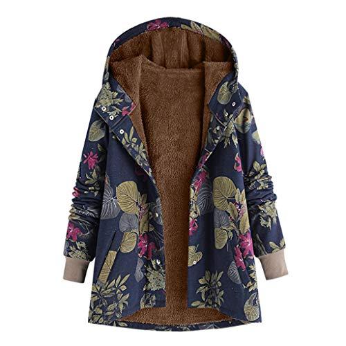 Daysing Damen Winterjacke Plüschjacke lässig Retro Kapuzenpullover Reißverschluss Sweatshirt Plus Samt Komfort weichen Fleece Mantel Wintermode Jacke