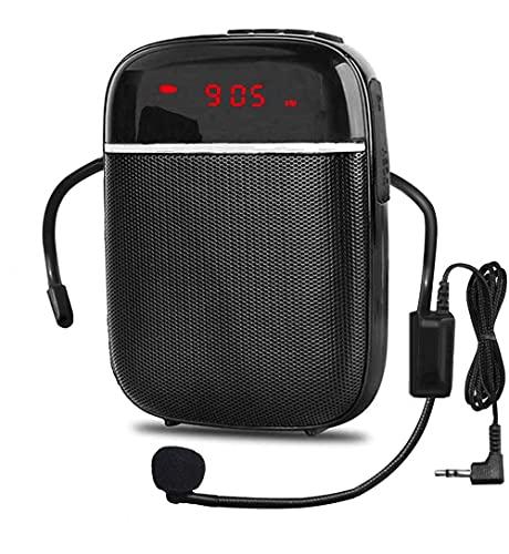 Amplificador de voz Bluetooth portátil, mini altavoz recargable con cable con micrófono, para maestros, guías turísticos, entrenadores y más.