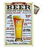 Cartel de chapa Vintage Placas Decorativas Póster Metal Pared Decoración de Arte para Cafe Bar Restaurante Pub Cocina, Serie de Cerveza (Beer)