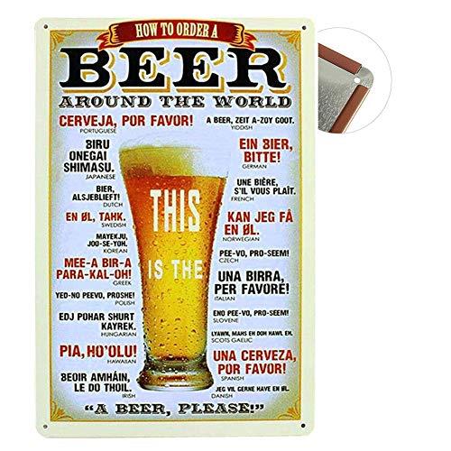 Grand Teint Vintage Plaque Métallique 20x30cm Poster en Métal Mural Plaque Décorative pour Cafe Bar Restaurant Pub, Série Bière (Beer)