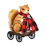 DUSVALLY Garden Squirrel Statue,Garden Art Outdoor Decorative Ornaments for Patio, Lawn, Yard, Cute Squirrel Figurines for Home Decor, Squirrel with Red Scarf Play The Scooter Statue