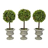 Pure Garden Faux Boxwood– 3 Matching Realistic 12.5' Tall-Round Topiary Arrangements in Decorative Urns for Indoor Home or Office (Set of 3), Green