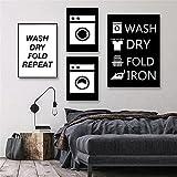 WAFENGNGAI cuadros nórdico Lavadora Pintura de lienzo en blanco y negro Carteles e impresiones Cuadros de pared para la decoración de la sala de estar Decoración de la pared-Sin marco