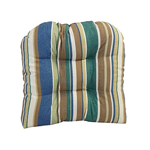 Unknown1 19-inch U-Shaped Polyester Outdoor Tufted Dining Chair Cushion Multi Color Striped Patterned Reversible Set Uv Resistant