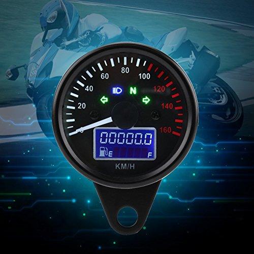 Qiilu - Velocímetro LCD digital QL06127 universal para motocicleta, 0~160 km/h, negro