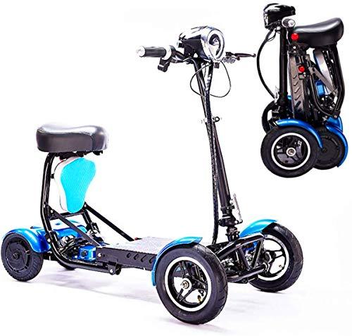 GQQ Rollstühle, Elektrischer Faltbarer Mobilitätsroller, Leichter Zusammenklappbarer Rollstuhl Handicap Roller Drive Scout 4-Rad-Reisemotorroller Für Erwachsene Senioren,Blau,36 V / 15,6 Ah / 40 Km