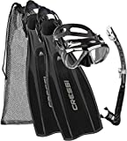 Cressi Pro Light + Big Eyes + Alpha Utra Dry Snorkel Set, Unisex Adulto, Negro, S/M (40/41)