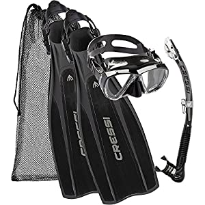 Cressi Unisex Pro Light Kit Pro Light Scuba Diving  Heel Fins + Big Eyes  Scuba Diving Mask and Alpha Ultra Dry Snorkel