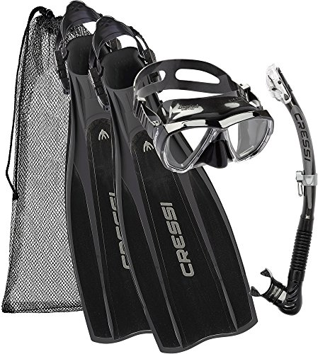Cressi Pro Light + Big Eyes + Alpha Utra Dry Snorkel Set, Unisex Adulto, Negro, M/L (41/43)