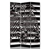 Biombo Opaco Lienzo Cebras 3 paneles bilateral Rayas blanco y negro 110x175 cm