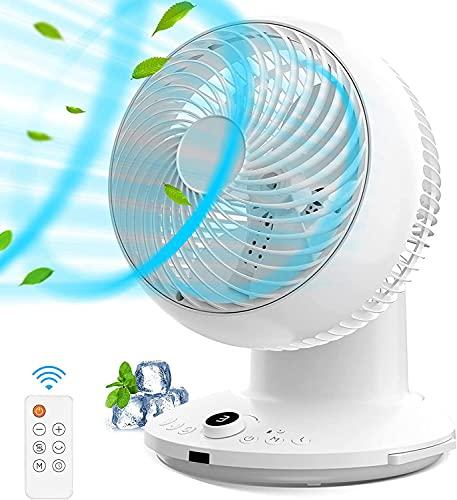Ventilador Circulación de Aire, QUARED Ventilador de Mesa Silencioso de Turbo con Control Remoto, 4 Velocidades, 3 Modos, Temporizador, 360°Oscilante Turbofan para Dormitorio, Habitación y Oficina