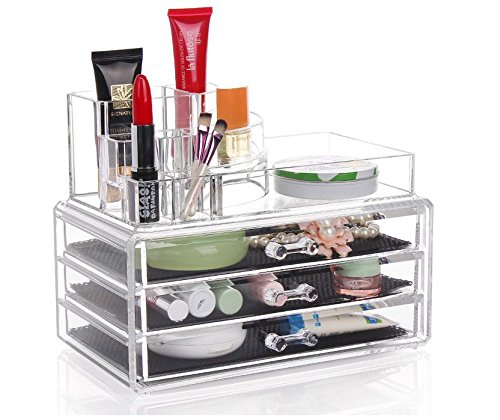 DJUNXYAN Groß Transparente Multifunktions-Abnehmbare Kombination Doppel-Deck Acryl Make-up Organizer Kosmetik-Box Lippenstift Make-up Pinsel Tray Plus 3 Schubladen