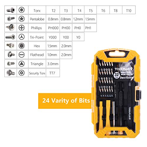 Precision Screwdriver Set, 32 in 1 Magnetic Screwdriver Kit Electronics Repair Tool Kits with 24 Bits for iPhone, Tablet, Macbook, Xbox, Cellphone, PC, Game Console