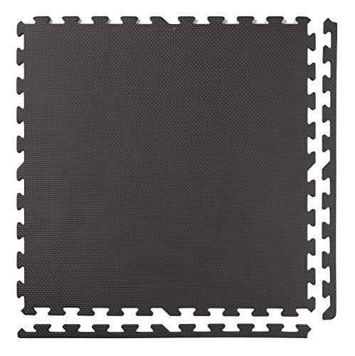 BodenMax Tappeto Protettivo in Gommapiuma Eva - Puzzle a Incastro con Bordi - Tappetivo Sportivo, da Yoga, per la Palestra – Antracite 30x30x1cm (18 Pezzi)