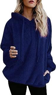 DaySeventh Sweatshirt for Womens,Pullover Sweaters,Hooded Oversize Coat Winter Warm Wool Zipper Pockets Cotton Coat Outwear