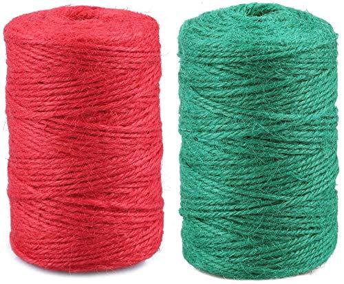 2 STÜCKE rote und grüne Schnur, 100 Meter 2 MM Juteschnur, 3-LAGIGE Juteschnur, Paket- / Dekorationsschnur für Kunsthandwerk (100 M rote Schnur + 100 M grüne Schnur)
