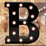 Light up Black Alphabet Marquee Letters Sign LED Letter Lights for Home Bar Festival Birthday Party Wedding Decorative (Black Letter B)
