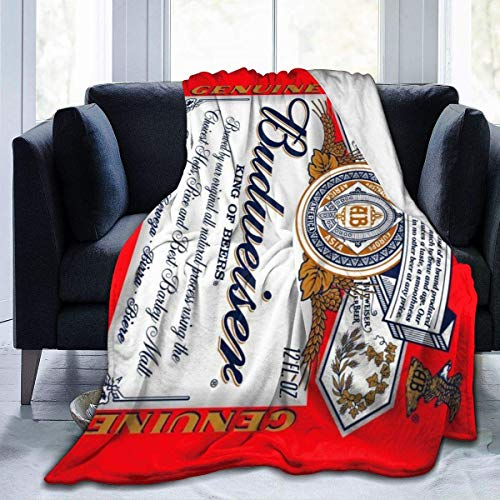 Ahdyr Budweiser Beer Logo Throw Blanket Ultra-Soft Flannel Fleece All Season Light Weight Living Room/Bedroom Warm Blanket
