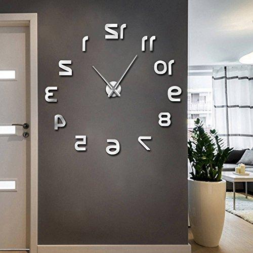Relojes de pared grandes de diseño moderno números inversos reloj de pared sin marco efecto espejo de lujo Big Needle Reverse Clock (Plata, 37 pulgadas)