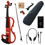 Amdini 4/4 Red Colored Solid Wood Electric/Silent Violin Kit with Ebony Fittings