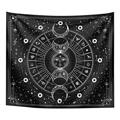 AUTUUCKEE Mandala Printed Home Decor Gobelin Strand Mysterious Sun Moon Hanging(Black)