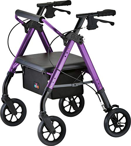 "NOVA Star Heavy Duty Bariatric Rollator Walker with Extra Wide Padded Seat, 8"" Wheels, Fold Lock Feature, Rolling Walker with Adjustable Seat Height & 450 lbs. Weight Capacity, Purple/Petite"