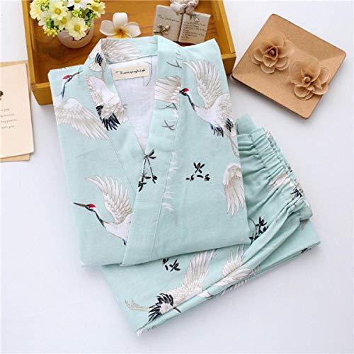 FWJSDPZ Women S Yukata Japanese Kimono Robes Pajamas Sets Cotton Dress Shorts Pants Nightgown Sleepwear Bathrobe Leisure Wear Homewear (Color : Green Sets, Size : L)