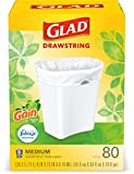 Glad Trash & Food Storage Medium Kitchen Drawstring Trash Bags 8 Gallon White Trash Bag, Gain Original Scent (Package May Vary), Fresh, 80.0 Count