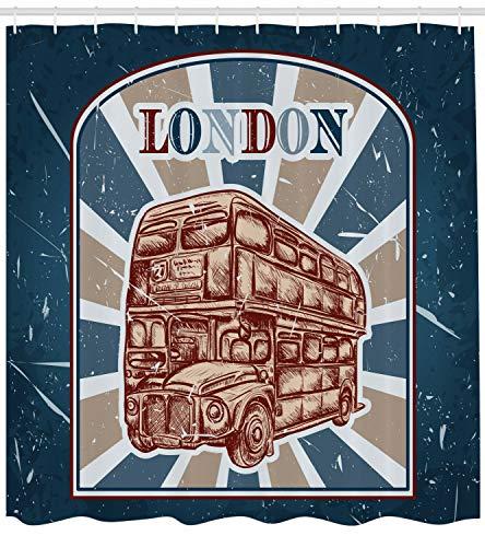 123456789 Vintage douchegordijn Engels Bus Grunge Art Print voor Badkamer