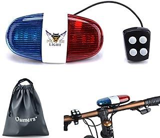 Oumers Bicycle Police Sound Light، LED Bike Bike Light Light شاخ آژیر شاخ بل ، 5 چراغ LED 4 صدا برای تلفن های موبایل ، چراغ ایمنی هشدار دهنده ، لوازم جانبی لامپهای دوچرخه ضد آب ، بدون باتری در