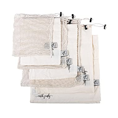 BEST REUSABLE PRODUCE BAGS for Grocery Shopping & Storage, 7 pc Set w/BONUS Swaddle Sheet for Safe Freshness, 6 Eco-Friendly Organic Muslin Cotton Drawstring & Premium Mesh Bag Set, Washable