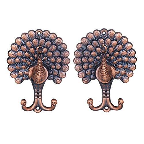 VOSAREA Paar Vintage Pfau Stil Vorhang Vorhang Holdbacks Raffhalter Haken (Antik Kupfer)