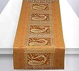 Stylo Culture Indio Decorativo Camino De Mesa Etnico Jacquard para Mesas Pequeñas Mostaza Amarilla Oro Manteles Brocado Pavo Real Floral | 60 Inch (152 x 40 cm)