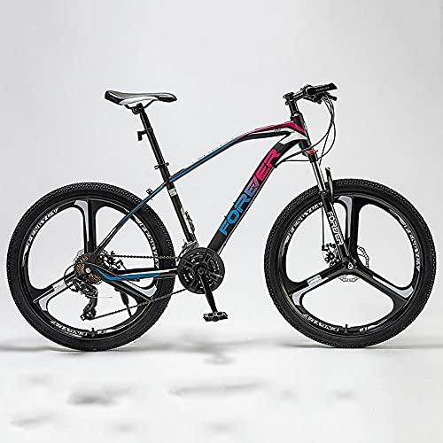 Bicicleta De Montaña De Velocidad Variable, Macho Salvaje, Adulto De Las Mujeres A Través del País, Bicicleta Adulto-Cubra con [Tres Ruedas De Cuchillo] Azul Colorido_27 Velocidad (24/26 Pulgadas),