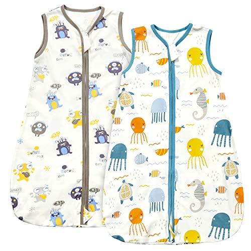 Schlafsack Baby Sommer 2 Packung 67cm Sommerschlafsack Babyschlafsack für 3 Monate -1 Jahre altes und 55cm-70cm Baby, 100% Baumwoll-Schlafsäcke mit Zwei Mustern