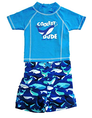 Mick Mack Toddler Boys' Two Piece Swim Trunks and Shirt Set, Coolest Dude Blue Whale (18M)