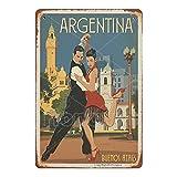 ARGENTINA Cartel de arte de letrero de metal vintage, placa retro, pintura de hierro, jardín, cafetería, bar, decoración de pared, 8 × 12 pulgadas