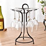 Metal Freestanding Tabletop Stemware Storage Rack/Wine Glass Cup Holder with 6 Hooks