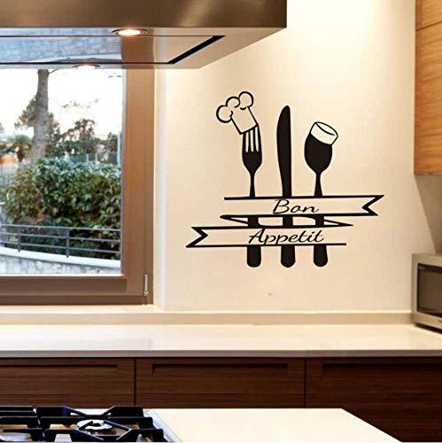 Cita Francesa Cocina Calcomanía De Pared Bon Appetit Sign Tenedor Cuchara Con Cabeza De Chef Pegatina De Vinilo Decoración Para El Hogar Comedor Impermeable 47X42Cm