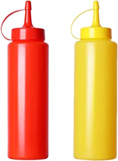 Lot de 2 distributeurs d'assaisonnement pour condiments, mayonnaise, moutarde, sauce chaude et huile d'olive (jaune et rouge)