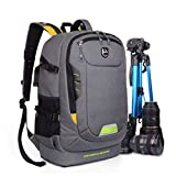Abonnyc DSLR SLR Camera Backpack Rucksack Bag Case Shockproof Waterproof for Canon Nikon Sony Panasonic Olympus Pentax and Accessories,Grey