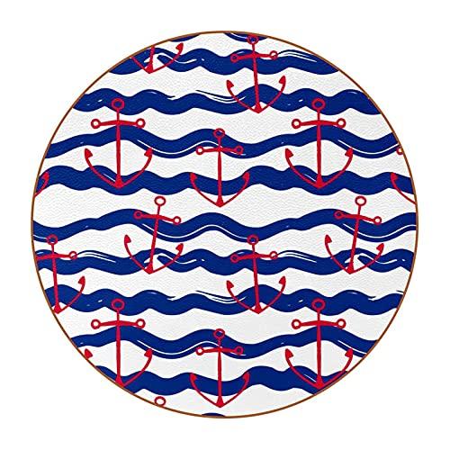 Juego de 6 posavasos de diseño único para posavasos de mesa con parte trasera antideslizante, juego de regalo con ancla de barco rojo, rayas azules de onda D4.3 pulgadas