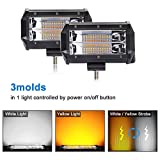 LED Light Bar 2 Pcs 5 inch 72W Dual Color Strobe Lights Led