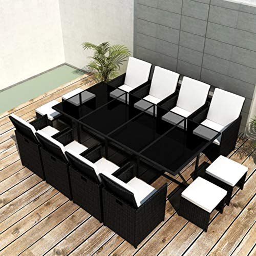 SKM 13 Piece Outdoor Dining Set with Cushions Poly Rattan Black-2599