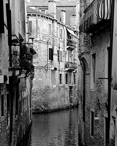 Home Comforts Channel Black White Italy Venice Calm City Water Vivid Imagery Laminated Poster Print 24 x 36