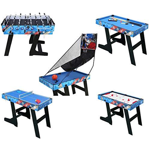 JCFDE Multigame Spieletisch Mega inkl. komplettem Zubehör, Spieltisch mit Kickertisch, Billardtisch, Tischtennis, Hockey, Basketball 107*60*82 cm